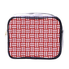 Woven1 White Marble & Red Denim Mini Toiletries Bags by trendistuff