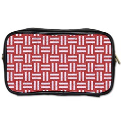 Woven1 White Marble & Red Denim Toiletries Bags by trendistuff