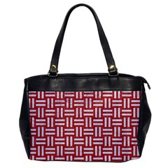 Woven1 White Marble & Red Denim Office Handbags by trendistuff