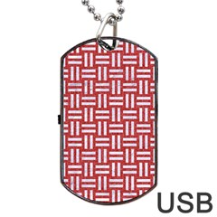 Woven1 White Marble & Red Denim Dog Tag Usb Flash (two Sides) by trendistuff