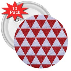 Triangle3 White Marble & Red Denim 3  Buttons (10 Pack)  by trendistuff