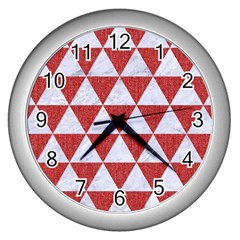 Triangle3 White Marble & Red Denim Wall Clocks (silver)  by trendistuff