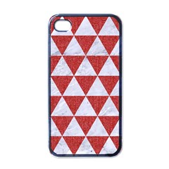 Triangle3 White Marble & Red Denim Apple Iphone 4 Case (black) by trendistuff