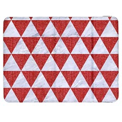 Triangle3 White Marble & Red Denim Samsung Galaxy Tab 7  P1000 Flip Case by trendistuff