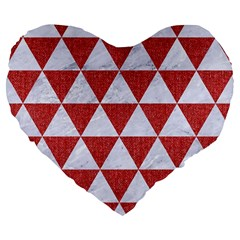 Triangle3 White Marble & Red Denim Large 19  Premium Flano Heart Shape Cushions by trendistuff