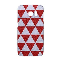 Triangle3 White Marble & Red Denim Galaxy S6 Edge by trendistuff