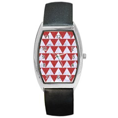 Triangle2 White Marble & Red Denim Barrel Style Metal Watch by trendistuff