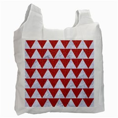 Triangle2 White Marble & Red Denim Recycle Bag (two Side)  by trendistuff