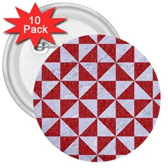 Triangle1 White Marble & Red Denim 3  Buttons (10 Pack)  by trendistuff