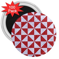 Triangle1 White Marble & Red Denim 3  Magnets (100 Pack) by trendistuff