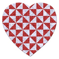 Triangle1 White Marble & Red Denim Jigsaw Puzzle (heart) by trendistuff