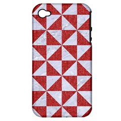 Triangle1 White Marble & Red Denim Apple Iphone 4/4s Hardshell Case (pc+silicone) by trendistuff