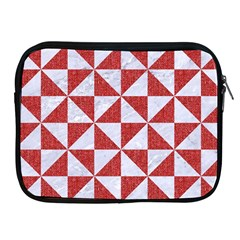 Triangle1 White Marble & Red Denim Apple Ipad 2/3/4 Zipper Cases by trendistuff