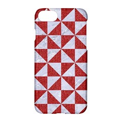Triangle1 White Marble & Red Denim Apple Iphone 8 Hardshell Case