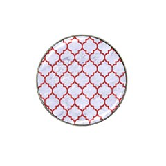 Tile1 White Marble & Red Denim (r) Hat Clip Ball Marker (10 Pack) by trendistuff