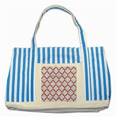 Tile1 White Marble & Red Denim (r) Striped Blue Tote Bag by trendistuff