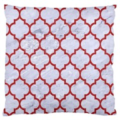 Tile1 White Marble & Red Denim (r) Large Cushion Case (one Side) by trendistuff