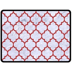 Tile1 White Marble & Red Denim (r) Double Sided Fleece Blanket (large)  by trendistuff