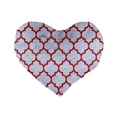Tile1 White Marble & Red Denim (r) Standard 16  Premium Flano Heart Shape Cushions by trendistuff
