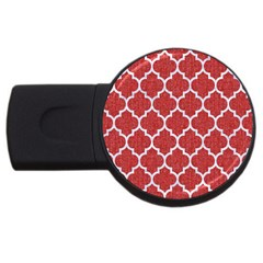 Tile1 White Marble & Red Denim Usb Flash Drive Round (2 Gb) by trendistuff