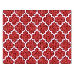 Tile1 White Marble & Red Denim Rectangular Jigsaw Puzzl by trendistuff