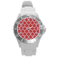 Tile1 White Marble & Red Denim Round Plastic Sport Watch (l) by trendistuff