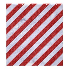 Stripes3 White Marble & Red Denim (r) Shower Curtain 66  X 72  (large)  by trendistuff