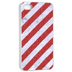 Stripes3 White Marble & Red Denim (r) Apple Iphone 4/4s Seamless Case (white) by trendistuff