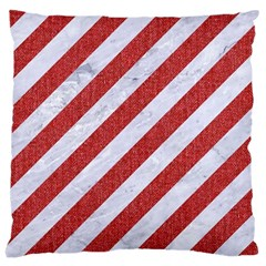 Stripes3 White Marble & Red Denim (r) Large Cushion Case (two Sides) by trendistuff