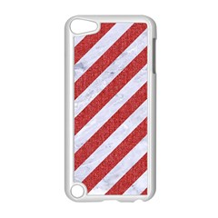 Stripes3 White Marble & Red Denim (r) Apple Ipod Touch 5 Case (white) by trendistuff