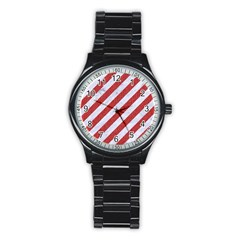 Stripes3 White Marble & Red Denim (r) Stainless Steel Round Watch by trendistuff