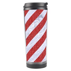 Stripes3 White Marble & Red Denim (r) Travel Tumbler by trendistuff
