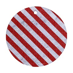Stripes3 White Marble & Red Denim Round Ornament (two Sides) by trendistuff