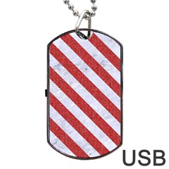 Stripes3 White Marble & Red Denim Dog Tag Usb Flash (one Side) by trendistuff