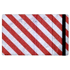 Stripes3 White Marble & Red Denim Apple Ipad 3/4 Flip Case by trendistuff