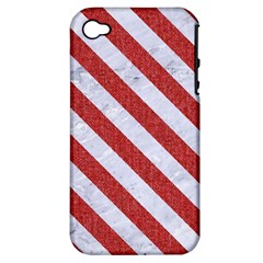 Stripes3 White Marble & Red Denim Apple Iphone 4/4s Hardshell Case (pc+silicone) by trendistuff
