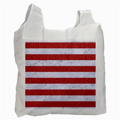 Stripes2white Marble & Red Denim Recycle Bag (two Side)  by trendistuff