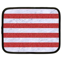 Stripes2white Marble & Red Denim Netbook Case (xxl)  by trendistuff