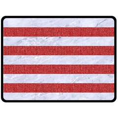Stripes2white Marble & Red Denim Double Sided Fleece Blanket (large)  by trendistuff