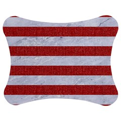 Stripes2white Marble & Red Denim Jigsaw Puzzle Photo Stand (bow) by trendistuff