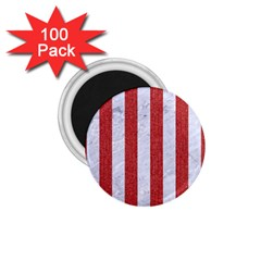 Stripes1 White Marble & Red Denim 1 75  Magnets (100 Pack)  by trendistuff