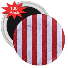 Stripes1 White Marble & Red Denim 3  Magnets (100 Pack) by trendistuff