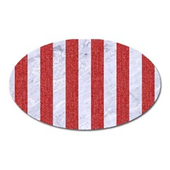 Stripes1 White Marble & Red Denim Oval Magnet by trendistuff