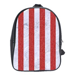 Stripes1 White Marble & Red Denim School Bag (large) by trendistuff