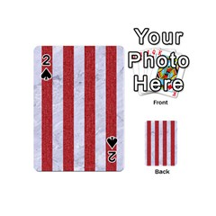 Stripes1 White Marble & Red Denim Playing Cards 54 (mini)  by trendistuff