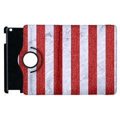 Stripes1 White Marble & Red Denim Apple Ipad 2 Flip 360 Case by trendistuff
