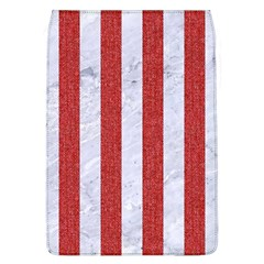 Stripes1 White Marble & Red Denim Flap Covers (l)  by trendistuff