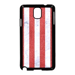 Stripes1 White Marble & Red Denim Samsung Galaxy Note 3 Neo Hardshell Case (black) by trendistuff