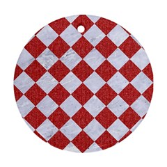 Square2 White Marble & Red Denim Round Ornament (two Sides) by trendistuff