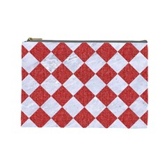 Square2 White Marble & Red Denim Cosmetic Bag (large)  by trendistuff
